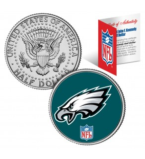PHILADELPHIA EAGLES NFL JFK Kennedy Half Dollar US Colorized Coin - Officially Licensed