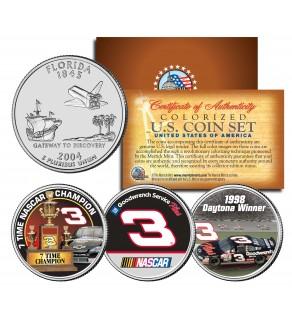 DALE EARNHARDT - Daytona Winner - 7-Time Champ - Florida Quarters US 3-Coin Set - Officially Licensed