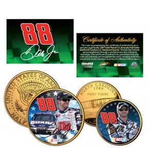 DALE EARNHARDT JR - National Guard - North Carolina Quarter & JFK Half Dollar US 2-Coin Set 24K Gold Plated - Officially Licensed