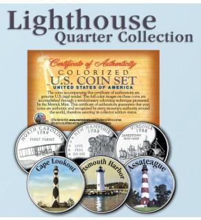 Historic American - LIGHTHOUSES - Colorized US Statehood Quarters 3-Coin Set #3 - Cape Lookout (NC) Portsmouth Harbor (NH) Assateague (VA)