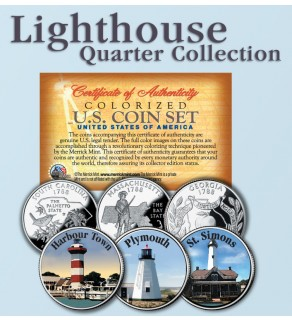 Historic American - LIGHTHOUSES - Colorized US Statehood Quarters 3-Coin Set #6 - Harbour Town (SC) Plymouth (MA) St. Simons (GA)
