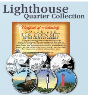 Historic American - LIGHTHOUSES - Colorized US Statehood Quarters 3-Coin Set #9 - Castle Hill (RI) Old & New Cape Henry (VA) Jupiter Inlet (FL)