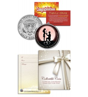 ENGAGEMENT CONGRATULATIONS Gift Keepsake JFK Kennedy Half Dollar US Coin