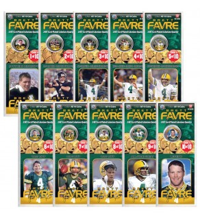 BRETT FAVRE 24K Gold Plated US Statehood Colorized Quarters 10-Coin Complete Set - Officially Licensed