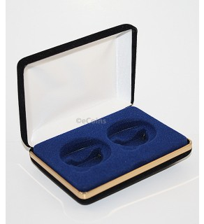 Black/Blue Felt COIN DISPLAY GIFT METAL BOX holds 2-IKE or Silver Eagle ASE