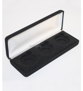 Lot of 5 Black Felt COIN DISPLAY GIFT METAL DELUXE PLUSH BOX for 3-Half Dollars U.S.
