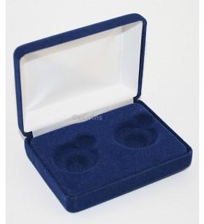 Blue Felt COIN DISPLAY GIFT METAL BOX holds 2-Quarters or Presidential $1 Dollar or Sacagawea Dollars