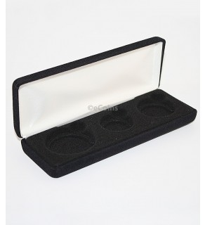 Black Felt COIN GIFT METAL BOX for 1-Quarter plus 1-Half Dollar plus 1-IKE/ASE