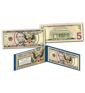 MILLENNIAL ELITE SERIES Genuine $5 Bill High-Def Colorized SYMBOLS OF FREEDOM