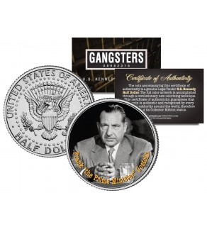 """FRANK COSTELLO """"The Prime Minister"""" Gangsters JFK Kennedy Half Dollar US Colorized Coin"""