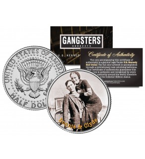 BONNIE CLYDE Gangsters JFK Kennedy Half Dollar US Colorized Coin
