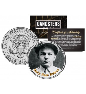 BABY FACE NELSON Gangsters JFK Kennedy Half Dollar US Colorized Coin