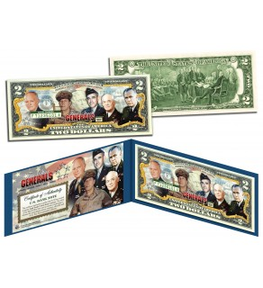 5-STAR GENERALS - WWII Legendary Rank Acheived By Only 5 - Legal Tender US $2 Bill
