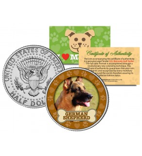 GERMAN SHEPHERD Dog JFK Kennedy Half Dollar U.S. Colorized Coin