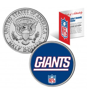 NEW YORK GIANTS NFL JFK Kennedy Half Dollar US Colorized Coin - Officially Licensed