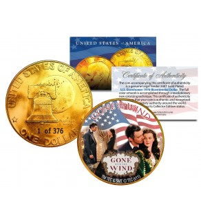 1976 GONE WITH THE WIND 24K Gold Plated IKE Dollar - Each Coin Serial Numbered of 376 - Officially Licensed