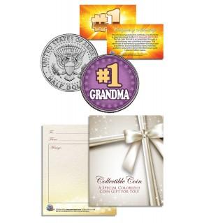 #1 GRANDMA - Grandparents' Day - JFK Kennedy Half Dollar US Coin