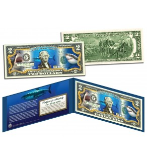 GREAT WHITE SHARK Collectible Legal Tender U.S. Colorized $2 Bill