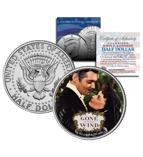 """Gone with the Wind """" Embrace """" JFK Kennedy Half Dollar US Colorized Coin - Officially Licensed"""