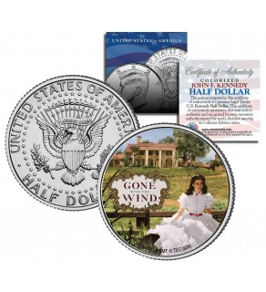 """Gone with the Wind """" Scarlett on Plantation """" JFK Kennedy Half Dollar US Colorized Coin - Officially Licensed"""