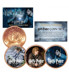 Harry Potter DEATHLY HALLOWS Colorized British Halfpenny 3-Coin Set (Set 1 of 6) - Officially Licensed