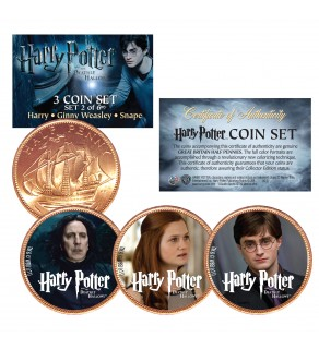 Harry Potter DEATHLY HALLOWS Colorized British Halfpenny 3-Coin Set (Set 2 of 6) - Officially Licensed
