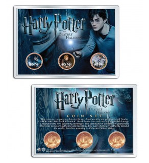 Harry Potter DEATHLY HALLOWS Great Britain Half Pennies 3-Coin Set with 4x6 Display