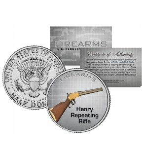 HENRY REPEATING RIFLE Gun Firearm JFK Kennedy Half Dollar US Colorized Coin