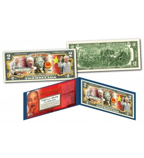 HO CHI MINH * Vietnam Icon & Leader * Official Colorized U.S. Genuine Legal Tender U.S. $2 Bill with Certificate & Display Folio