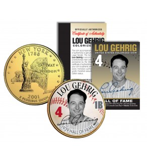 LOU GEHRIG - Hall of Fame - Legends Colorized New York State Quarter 24K Gold Plated Coin
