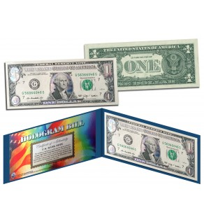 AQUA SILVER LASER CUT HOLOGRAM Legal Tender US $1 Bill Currency - Limited Edition