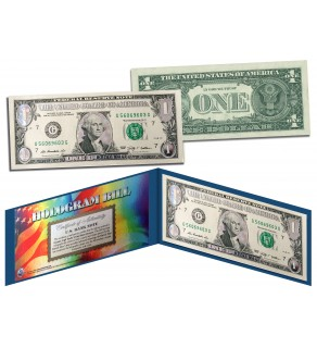 DAZZLING SILVER CLOUDS HOLOGRAM Legal Tender US $1 Bill Currency - Limited Edition