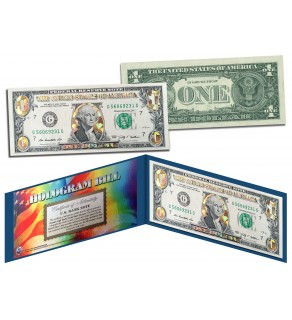 GOLD DIAMOND CRACKLE HOLOGRAM Legal Tender US $1 Bill Currency - Limited Edition