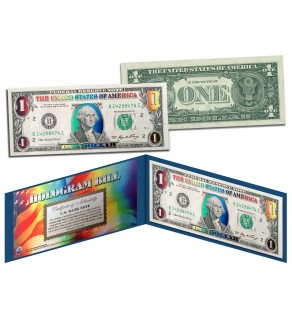 DELUXE MULTI-COLOR HOLOGRAM Legal Tender U.S. $1 Bill Currency - Limited Edition