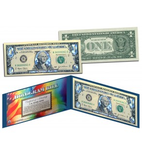 SILVER DIAMOND CRACKLE HOLOGRAM Legal Tender US $1 Bill Currency - Limited Edition