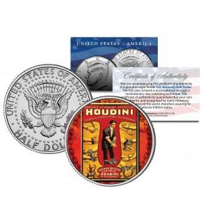 HARRY HOUDINI - Handcuff King - Colorized JFK Kennedy Half Dollar U.S. Coin
