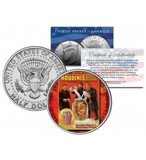 HARRY HOUDINI - Milk Can Escape - Colorized JFK Kennedy Half Dollar U.S. Coin