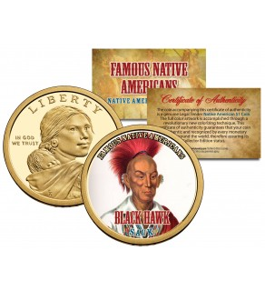 BLACK HAWK - Famous Native Americans - Sacagawea Dollar Colorized US Coin - SAUK Indians