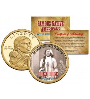 CRAZY HORSE - Famous Native Americans - Sacagawea Dollar Colorized US Coin - LAKOTA Indians