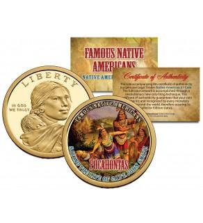 POCAHONTAS - Famous Native Americans - Sacagawea Dollar Colorized US Coin - SAVING THE LIFE OF CAPT. JOHN SMITH Indians
