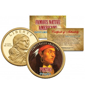 PONTIAC - Famous Native Americans - Sacagawea Dollar Colorized US Coin - OTTAWA Indians