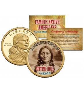 SITTING BULL - Famous Native Americans - Sacagawea Dollar Colorized US Coin - LAKOTA Indians