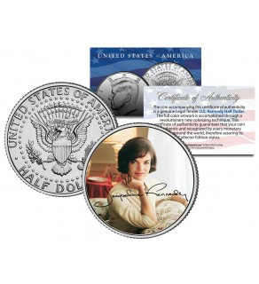 Jacqueline Kennedy Onassis JFK Kennedy Half Dollar US Coin - Color Signature