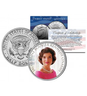 Jackie O JFK Kennedy Half Dollar U.S. Coin wearing her Legendary Pearl Necklace