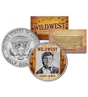 JESSE JAMES - Wild West Series - JFK Kennedy Half Dollar U.S. Colorized Coin