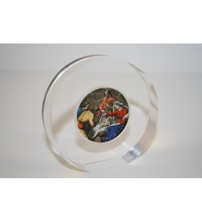 JESUS NATIVITY American Silver Eagle Colorized Coin Lucite Paperweight Circular