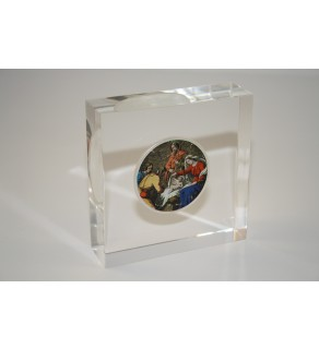 JESUS NATIVITY American Silver Eagle Colorized Coin Lucite Paperweight Square