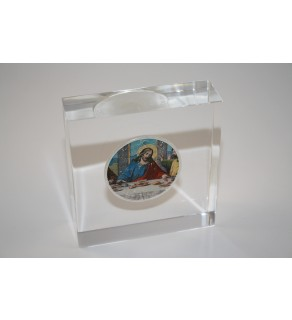 JESUS LAST SUPPER American Silver Eagle Colorized Coin Lucite Paperweight Square