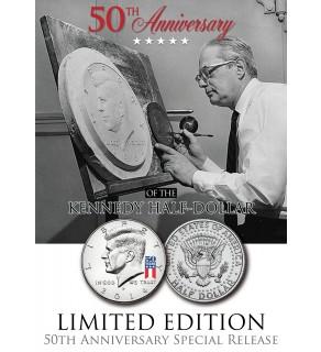 50th Anniversary - SPECIAL 50 YEARS LOGO - 2014 JFK Kennedy Half Dollar US Coin (P)