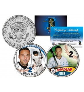 DEREK JETER - Final Season & Captain - JFK Kennedy Half Dollar Colorized 2-Coin Set
